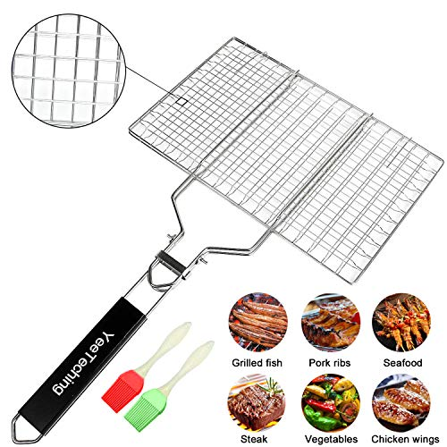 Yeeteching Grill Basket¡ê?Portable Stainless Steel BBQ Barbecue Fish Grilling Baket for Fish,Vegetables, Steak,Shrimp,...