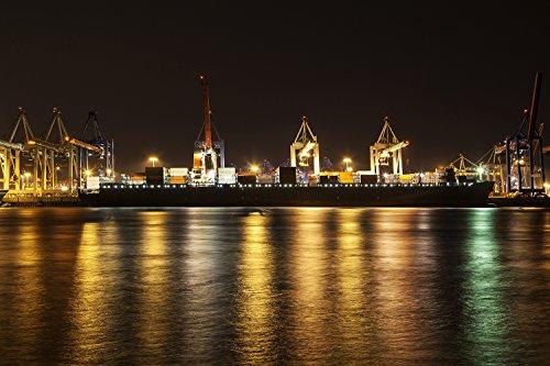 Fototapete - Containerschiff Hamburg Hafen (Selbstklebende Vlies-Fototapete) 100 x 66 cm