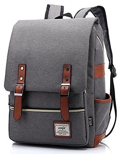 Mn&Sue School Laptop Backpack British Style Daypacks Waterproof Oxford Shoulder Bags for Men Women Travel Outdoor Sport Rucksack Gray