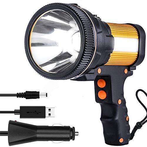 Proyector súper brillante Linterna LED impermeable de 7000 lúmenes, reflector de mano recargable, linterna táctica portátil para exteriores de 6000 MAh con 5 modos de iluminación (Dorado)