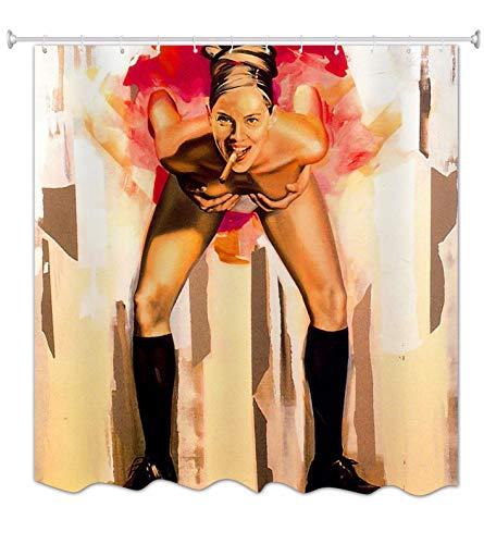 A.Monamour Mädchen Rauchen Zigarre Haltung Grafik Detaillierte Fotografie Druck wasserdichte Textil Duschvorhänge Textil 180X200 cm / 72