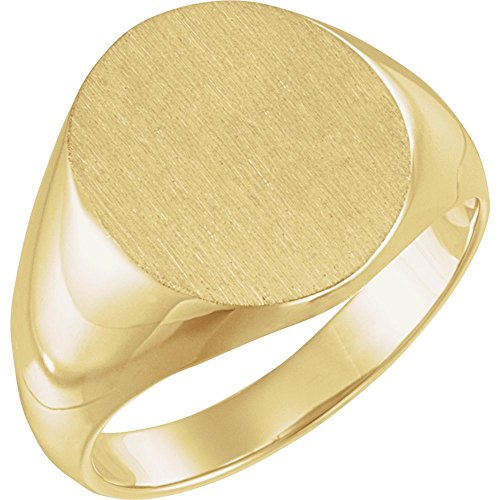 JewelryWeb Herren-Siegelring aus 10 Karat Gelbgold, poliert, oval, Größe V 1/2, höhere Goldqualität als 9 Karat Gold