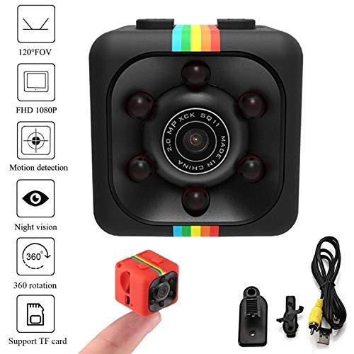 GUIGSI Mini cámara 1080P, Mini CAM, Portable HD Nanny CAM (visión Nocturna, 1080P, cámara en Miniatura) Cámaras encubiertas Mini grabadora de Video Deportes Security