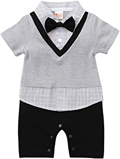 Fairy Baby Newborn Baby Boys Outfits Summer Gentleman Tuxedo Formal Short Sleeve Romper