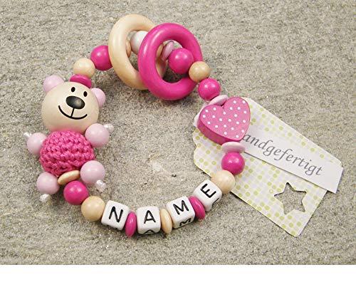 Baby Greifling Beißring geschlossen mit Namen - individuelles Holz Lernspielzeug als Geschenk zur Geburt Taufe - Mädchen Motiv Bär und Herz in pink