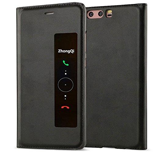 GOGODOG Huawei P10 Plus Funda Inteligente Ventana Ver Ultra Delgado Dar la Vuelta Auto Dormir/Despertar Multi-función Protector Cubrir para P10 Plus (5.5 Pulgadas) (Negro)