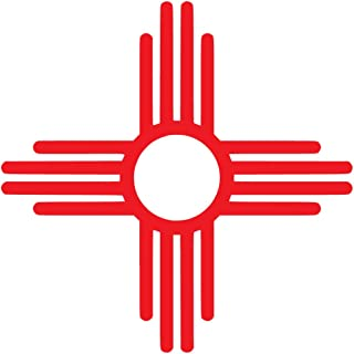 New Mexico Flag Symbol Vinyl Decal Sticker Car Window Bumper 5-Inches Premium Quality Print UV Resistant Laminate JMM00140RED5 (Red, 5-Inches)