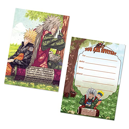 16 PCS Naruto Cards Invitation Cards Party Supplies for Boys Girls Birthday Party Baby Shower Graduation 5x7inches