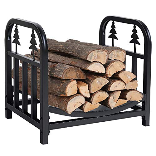 LXLA Fireplace Log Holder Storage Rack, Outdoor Indoor Firewood Stand for Storing, Drying or Heaping Logs, Heavy Duty 45 Cm X 32 Cm X 40 Cm