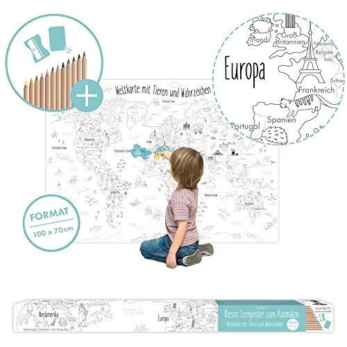 Große Weltkarte für Kinder zum Ausmalen XXL 100 x 70 cm Poster mit Stiften