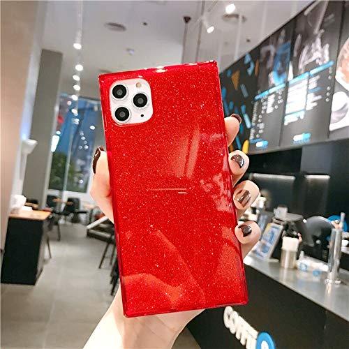 Cocomii Square Glitter iPhone 12/12 Pro – Funda fina brillante y suave de silicona TPU gel de goma con bordes cuadrados, compatible con Apple iPhone 12/12 Pro de 6,1 pulgadas (rojo)