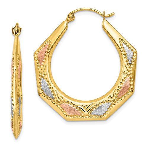 14k Yellow Gold White Rose Hoop Earrings Ear Hoops Set Fine Jewelry For Women Gifts For Her