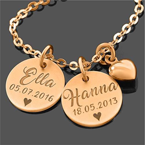 Namenskette rosé gold zur Geburt Schmuck Zwillinge Namensschmuck Gravur Halskette mit Namensanhänger Kette Familie Schmuck für Mama Namensketten Mütter Geschenk Schwester