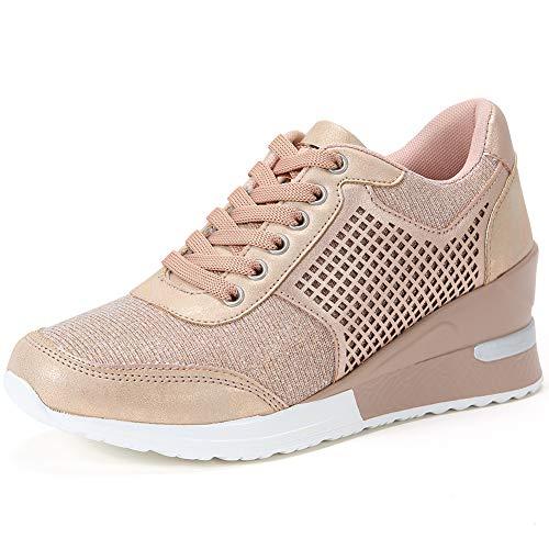 Zapatillas Deportivas Plataforma Cuña para Mujer - ANJOUFEMME Zapatos Wedge Sneakers Mujer, Apto para Todas Las Estaciones