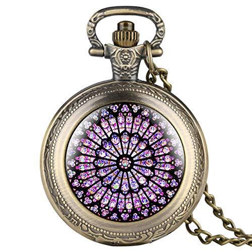 LOOIUEX Reloj de Bolsillo The Rose Window Display Full Hunter Reloj de Bolsillo de Cuarzo Collar Antiguo Reloj Colgante Mejor Recuerdo Regalos para Hombres Mujeres, Bronce