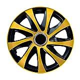 DRIFT EXTRA Lot de 4 enjoliveurs 14' noir/jaune