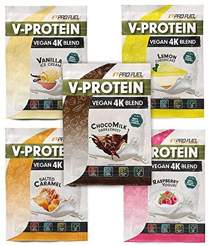 Vegan Proteinpulver Proben-Paket, 5x30g Mix-Pack mit Schokolade, Vanille, Zitrone, Himbeere & Karamell – unglaublich lecker & cremig - pflanzliches Eiweißpulver mit 74-81% Eiweiß | V-PROTEIN 4K Probe