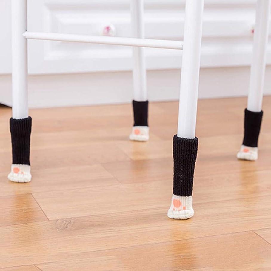 驚かす絶えず因子ACHICOO テーブル脚パッド かわいい 漫画 猫の足 編み 椅子 床の保護 4Pcs/セット 黒