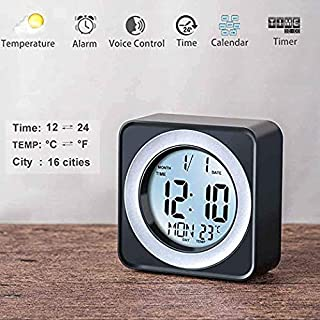 WorldSeng Alarm Clock,Kids Alarm Clock,Digital LCD Display Portable Modern Alarm Clock with Snooze Time Temperature, Calendar,Table Clock,Sound Sensor Smart Nightlight, Digital Desk Clock, Smart Clock
