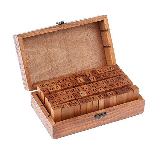 ONEVER 70Pcs Wooden Rubber Alphabet Letter Number Stamps Stamper Seal Set Capital Upper Lower Case for Kids (Dark Wooden)
