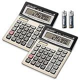 Calculator 14-Digit Desktop Calculator Solar Battery Dual Power Calculator Large LCD Display Calculator Big Sensitive Button Calculators with Check&Correct Function for Office School Business Desk