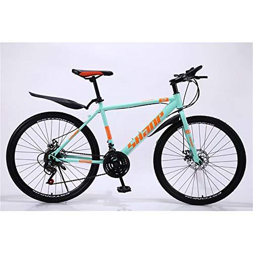 NOVOKART Bicicleta de Montaña Unisex, 26 Pulgadas, MTB para Adultos con Asiento Ajustable, Verde, Rueda de radios, Cambio de 21 etapas