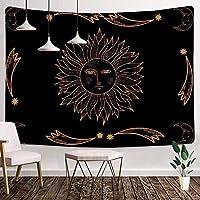 太陽と月のタペストリー60X40インチバーニングサンタペストリーサイケデリックアートタペストリー壁紙子供大人部屋の装飾