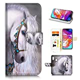 for Samsung Galaxy A50, Designed Flip Wallet Phone Case Cover, A20470 White Horse Princess