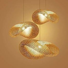 Pendentif Luminaire Lampe Rustique Éclairage Suspensions Bambou Et Rotin Suspension Lampe Design Creative Tissé À La…