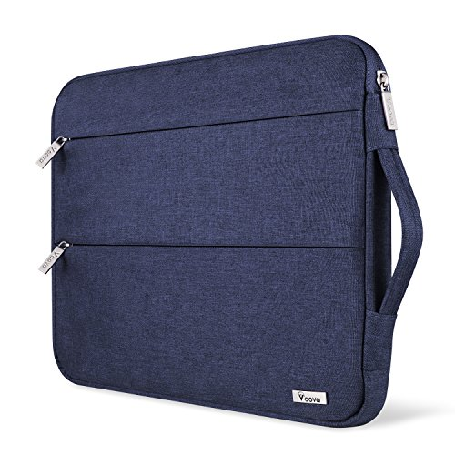 Voova 15 15.6 14 Inch Laptop Sleeve Case with Handle Compatible with MacBook Pro /15' Surface Book 2 /XPS 15 /Chromebook/HP/Lenovo, Waterproof Protective Cover Bag with 2 Accessory Pockets-Blue