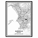 Marseille Frankreich Karte Wandkunst Leinwand drucken