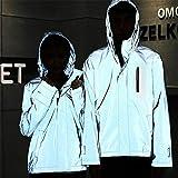 Conquror Veste réfléchissante pour Homme/Femme Manteau Coupe-Vent à Capuche Harajuku à Capuche Hoodie Loose Fit Hip Hop Sweatshirt Sweater