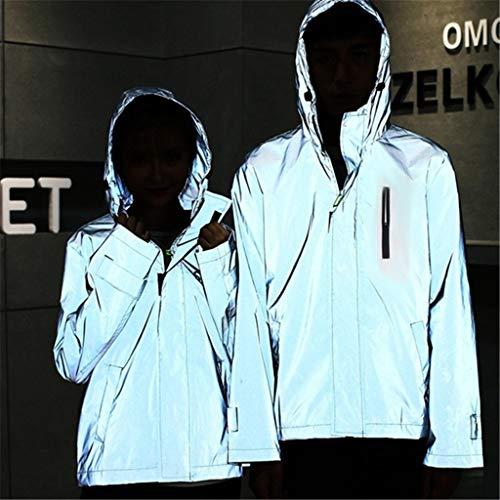 Leeafly Outdoorjacken Wasserdichter, Reflektierende Jacke Herren/Damen Harajuku Windbreaker Jacken Hooded Streetwear Coat Outdoor-Sportmantel Frü Herbst Winter(XL,Giallo)