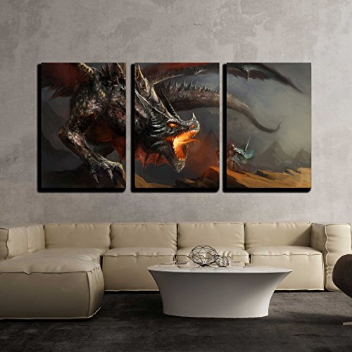 wall26 - 3 Piece Canvas Wall Art - Fantasy Scene Knight Fighting Dragon - Modern Home Art Stretched and Framed Ready to Hang - 24'x36'x3 Panels