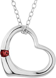 Open Heart Pendant Necklace with Garnet in Sterling Silver with chain