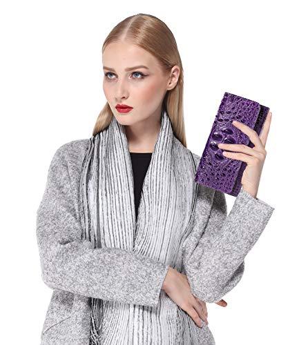 PIJUSHI Women Leather Wallet Embossed Crocodile Clutch Wallet Card Holder Organizer 2