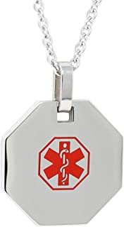 Medical Alert Womens Mens Necklace with Pendant - Custom Engraving for Diabetes Warfarin Dialysis Stroke Pacemakers