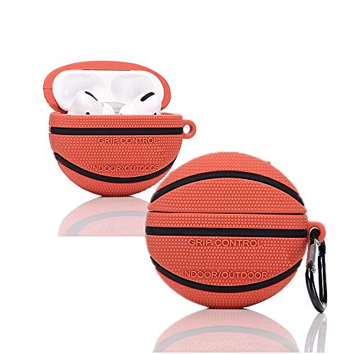 YIGEYI Silikon Hülle Kompatibel mit Airpods Pro Funny Cute 3D Cartoon Case Cover[Ballspiele im Freien] (Basketball)