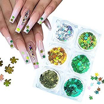 St Patrick's Day Shamrock Nail Glitter Sequins Clover Glitter Ultra Thin Shamrocks Nail Glitter Flakes Shining Laser 3D Holographic Nail Art Stickers Sequins Design for St Patrick s Day 6 Boxes