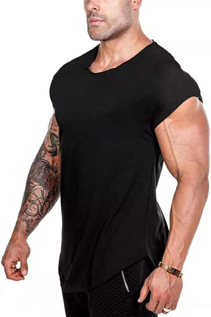 MODOQO Men's Short Sleeve T Shirt Casual Sports Solid Tee Tops for Gym Fitness