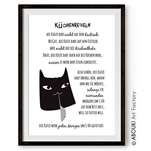 Katzen-Küchen-Regeln - Kunstdruck ungerahmt, DIN A4