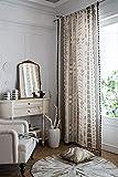 SWECOMZE 1 cortina de lino transparente, gasa, estilo bohemio, para ventana de...