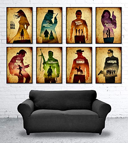 Quentin Tarantino Minimalist Movie Poster Set, Artwork Print, Django Unchained, Inglourious Basterds, Death Proof, Jackie Brown, Pulp Fiction, Kill Bill, Reservoir Dogs, The Hateful Eight