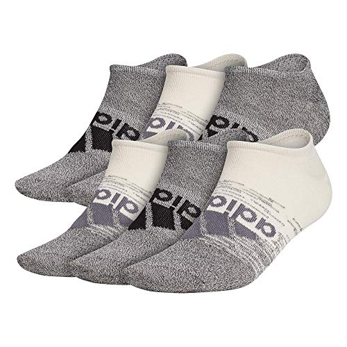 adidas Superlite No Show Socks (6-Pair) Calcetines Extra Cortos, Alumina Beige/Negro/Onix Gris, L (Pack de 6) para Hombre