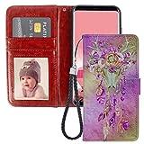 Custodia a portafoglio compatibile con Galaxy S7 Edge (5,5 pollici), motivo acchiappasogni con fiori viola teschio stelle viola con fessura per monete