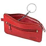 Kleines Schlüsseletui Schlüsselmäppchen aus Leder, für Damen und Herrn, Rot, Branco 019