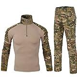 QCHENG Chemise de Combat Militaire Homme Airsoft Shirt Tenue Camouflage Uniforme Tactique...