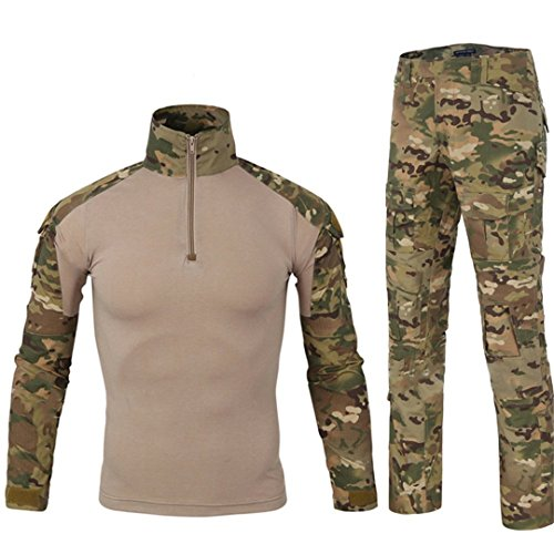 HJLYQXQ Men's Military Tactical Shirt and Pants Multicam Army Camo