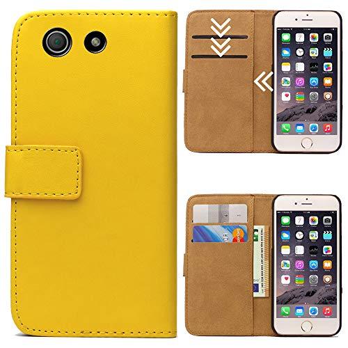 Roar Handytasche für Sony Xperia Z3 Compact, Flipcase Tasche Schutzhülle Handyhülle für Sony Xperia Z3 Compact Bookcase Wallet mit Magnet, Gelb
