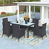 Merax 7 Pieces Patio Outdoor PE Wicker Dining Table Set with Removable Cushions for Lawn, Backyard, Garden, Black